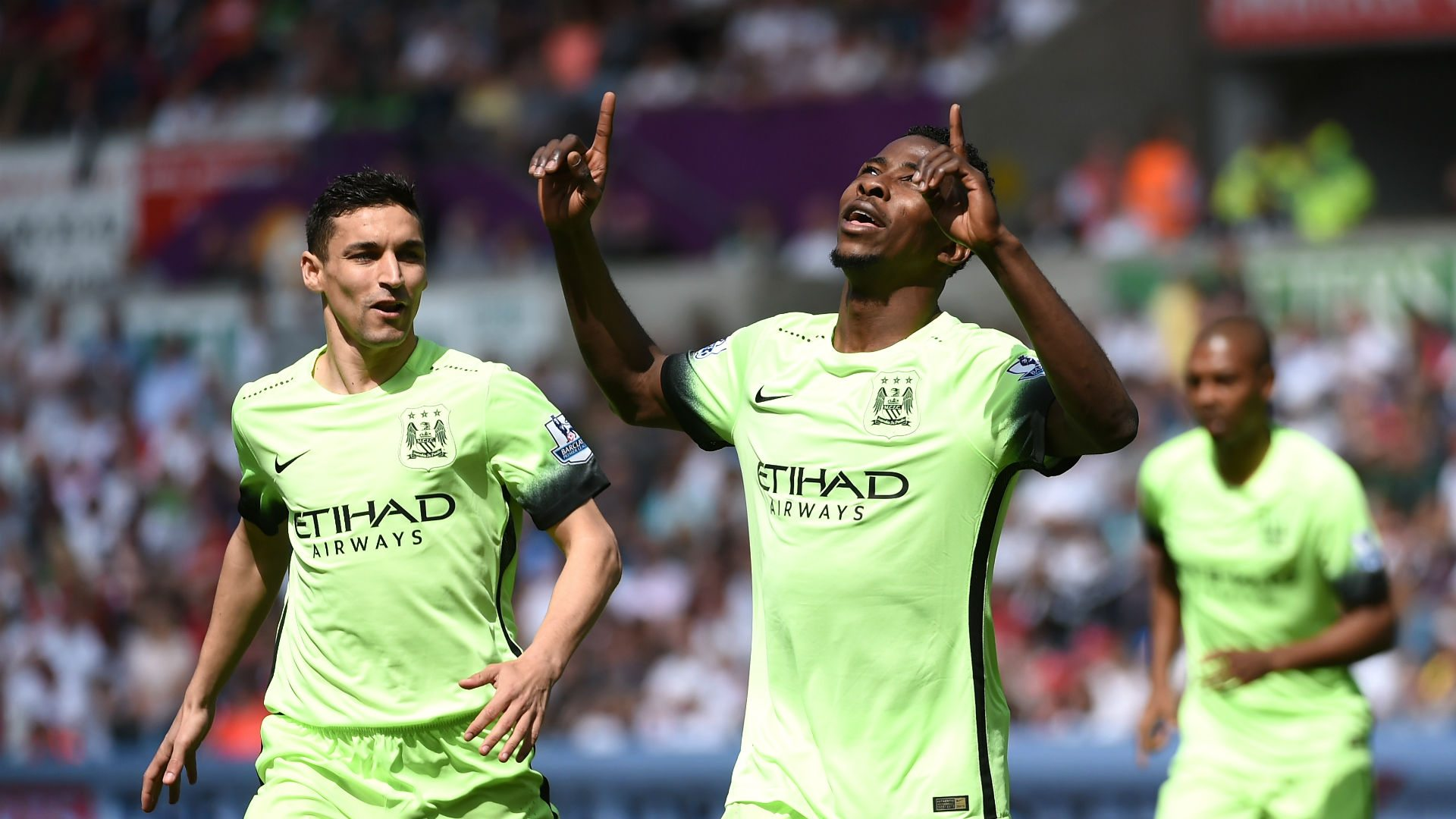 Kelechi Iheanacho, Celebrating His Goal With Manchester City Team-mate, Jesus Navas